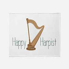 Happy Harpist Throw Blanket
