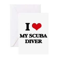 I Love My Scuba Diver Greeting Cards