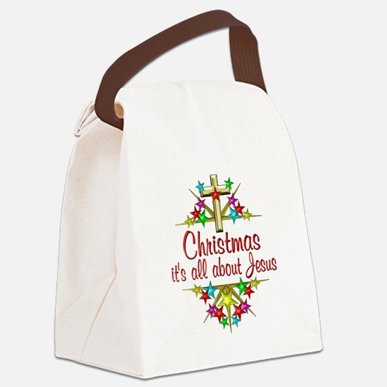 Christmas About Jesus Canvas Lunch Bag