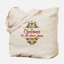 Christmas About Jesus Tote Bag
