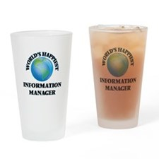 World's Happiest Information Manage Drinking Glass