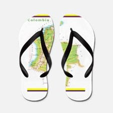 Colombia Green map Flip Flops
