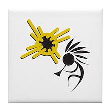 KOKOPELLI AND SUN Tile Coaster