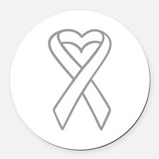LUNG CANCER RIBBON Round Car Magnet