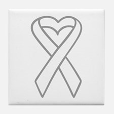 LUNG CANCER RIBBON Tile Coaster