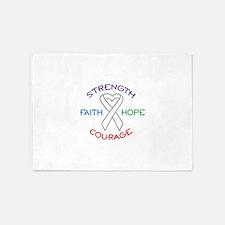 HOPE FAITH COURAGE STRENGTH 5'x7'Area Rug