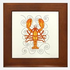 LOBSTER AND WAVES Framed Tile