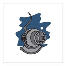 "DEEP SEA DIVER Square Car Magnet 3"" x 3"""