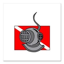 "DIVE HELMET AND FLAG Square Car Magnet 3"" x 3"""
