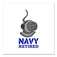 "NAVY DIVER RETIRED Square Car Magnet 3"" x 3"""