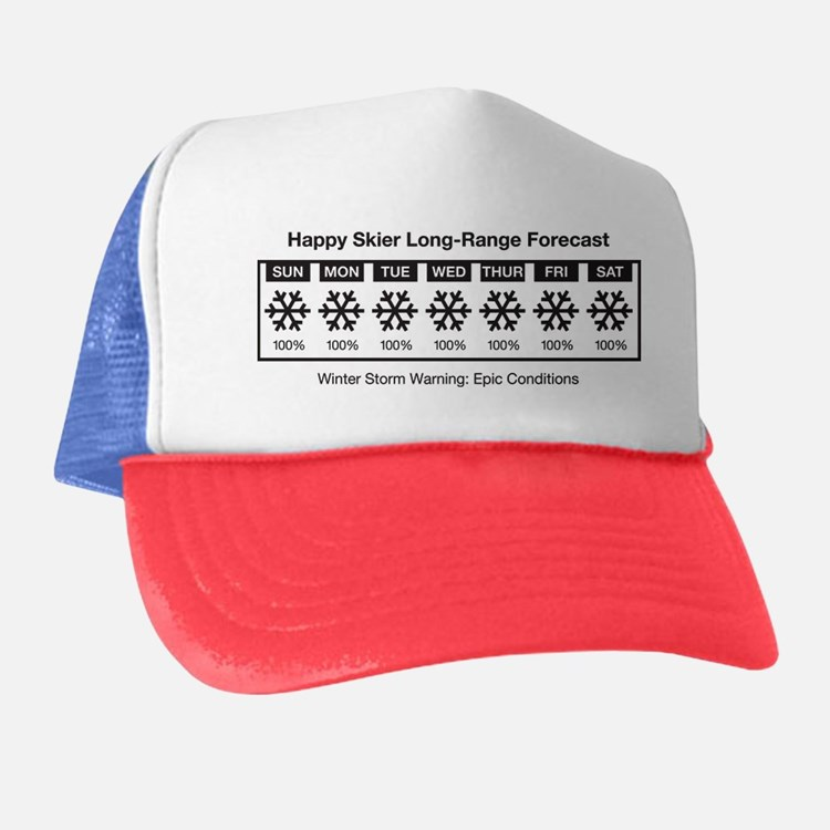 Happy Skier Forecast Trucker Hat
