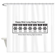 Happy Skier Forecast Shower Curtain