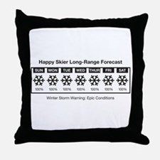 Happy Skier Forecast Throw Pillow
