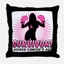 I Kicked Cancer's Ass Throw Pillow