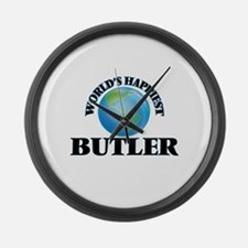 World's Happiest Butler Large Wall Clock