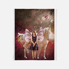 Fairy Girl And Unicorn Throw Blanket