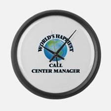 World's Happiest Call Center Mana Large Wall Clock