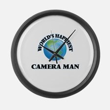 World's Happiest Camera Man Large Wall Clock