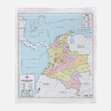 Colombia Mapa Oficial Throw Blanket