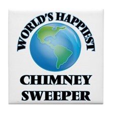 World's Happiest Chimney Sweeper Tile Coaster