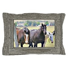 Old window 3 horses Pillow Case