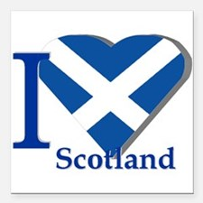 "I Love Scotland Square Car Magnet 3"" X 3&quot"