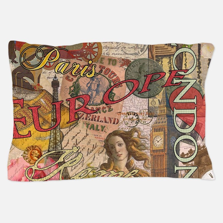 European Travel Vintage London Rome Paris Pillow C
