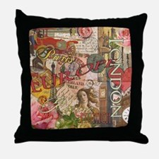 European Travel Vintage London Rome Paris Throw Pi