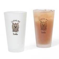 I Love My Yorkie Drinking Glass