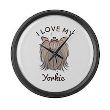 I Love My Yorkie Large Wall Clock