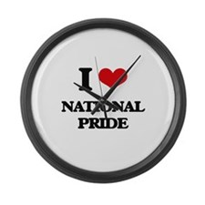 I Love National Pride Large Wall Clock