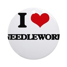 I Love Needlework Ornament (Round)