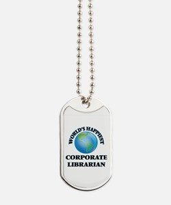World's Happiest Corporate Librarian Dog Tags