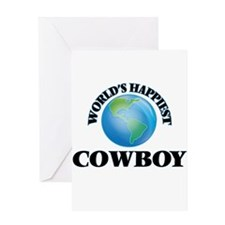 World's Happiest Cowboy Greeting Cards