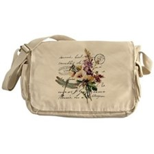 Dragonfly and flowers Messenger Bag