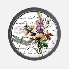 Dragonfly and flowers Wall Clock