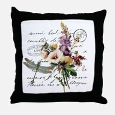 Dragonfly and flowers Throw Pillow