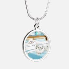 Sleeps with Maltese ByCatiaC Silver Round Necklace