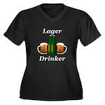Lager Drinke Women's Plus Size V-Neck Dark T-Shirt