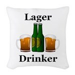 Lager Drinker Woven Throw Pillow