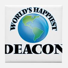 World's Happiest Deacon Tile Coaster