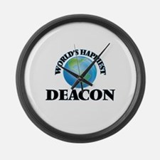World's Happiest Deacon Large Wall Clock