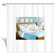 Sleeps with Maltese ByCatiaCho Shower Curtain