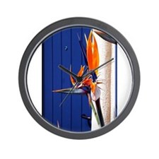 Bird of Paradise with Blue Door Wall Clock