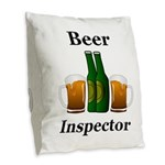 Beer Inspector Burlap Throw Pillow