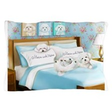 Sleeps with Maltese ByCatiaCho Pillow Case