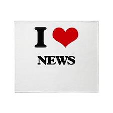 I Love News Throw Blanket