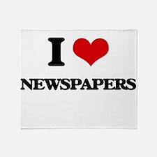 I Love Newspapers Throw Blanket