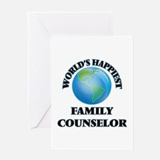 World's Happiest Family Counselor Greeting Cards