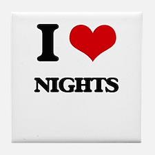 I Love Nights Tile Coaster
